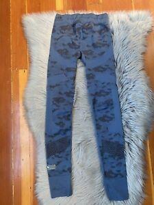 Stella McCartney Adidas Training Workout Blue Camouflage Tight Leggings Camo XS