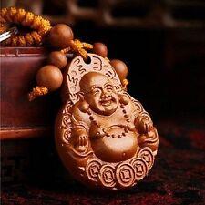 Rosewood Lucky Buddha Auto Car Key Chain Ring Pendant Beautiful Ornament Decor