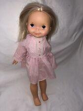 Vintage 1970s Fisher Price Girl Doll, Blonde Hair Blue Eyes Original 15� Height