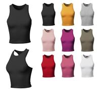 FashionOutfit Women's Junior Basic Solid Sleeveless Crop Tank Top