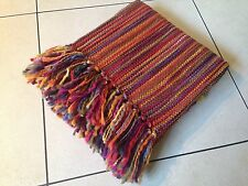 TERRACOTTA MULTI COLOURED  STRIPE FRINGED THROW BLANKET Moroccan 127x152cm