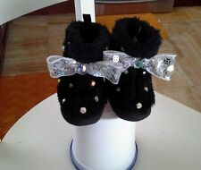 Embellished  baby girl black winter boots, 6-9 mos, faux fur. Casual, Velcro.