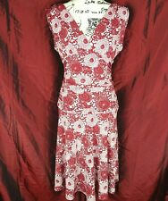 Arden B Red White Floral paisley Sleeveless V neck Ruched Stretch Dress Small