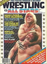 EB1455  Ric Flair & Harley Race signed Wrestling Magazine COA *BONUS*  HISTORY
