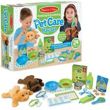 MELISSA AND DOUG FEEDING & GROOMING PET CARE PLAY SET INCL. SOFT PLUSH DOG & CAT