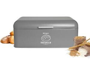 Großer Brotkasten aus Metall Retro Look Rollbrotkasten Brotbehälter Brotbox Grau