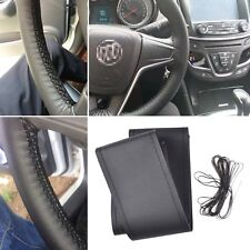 Universal Car DIY Black Leather Steering Wheel Cover & Needle Thread 37-39cm