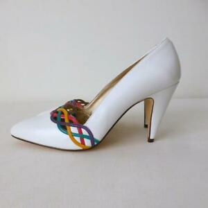 BANDOLINO Vintage Shoes White Leather High Heel Pumps NEW Size 8M Made in Italy