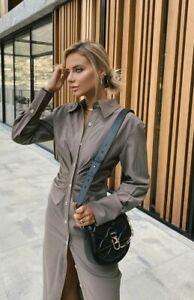 Zara NEW 2021 INFLUENCER DRAPED SHIRT DRESS SIZE XL