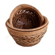 Set of 3 Round Wicker Bamboo Bowls for Bread Fruit Display etc.