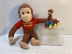 """Curious George Applause Plush 10"""" Terry Cloth Feel + Train Lot"""