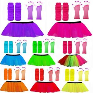 NEON 80s FANCY DRESS COSTUME TUTU SKIRT SET LEG WARMERS FISHNET GLOVES HEN PARTY