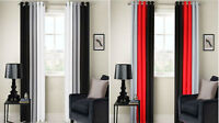 RING TOP FULLY LINED 3 TONE 160GSM READY MADE PAIR OF EYELET CURTAINS 160GSM!