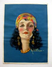 1930s Deco Style Pin Up Girl Picture Brunette w/ Scarf Big Lips by Hammell