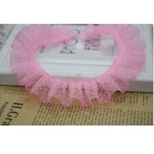 1/10 Yrds Lace Edge Trim Gathered Pleated Satin Ribbon Wedding Sewing DIY Craft