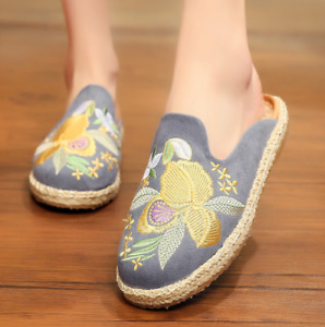 Retro Womens Slingabck Flats Embroidered Floral Mules Slippers Round Toes Loafer