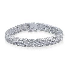 Diamante Natural Ondulado Tenis Brazalete en Acabado Oro Blanco Latón 0.25ct