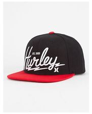 HURLEY Bolts Mens Snapback Hat Black and Red
