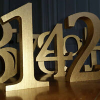 Free-Standing 13cm Large Wooden Numbers, Painted Numbers, Table Numbers Birthday