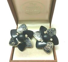 Vintage Jewellery Gorgeous Signed West Germany  Flower Clip On Earrings