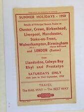 Handbill British Railways Midland Region 1950 Holiday trains returns