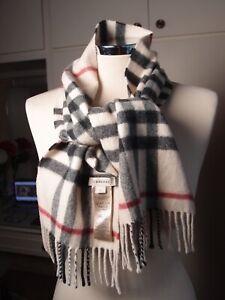BURBERRY 100% Cashmere Beige Check Colour Scarf 20cmx120cm