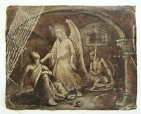 """Antique Religious Art Painting Angel Consoling Warriors 12"""" by 15"""""""