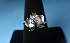 Sterling Silver Genuine Amethyst Flower Ring by AVON - Size 10 - NEW - NO Box