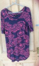 Next Tunic Top Size 12 in Navy/Pink, v neck short sleeves