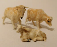 E** 3 X Vintage plastic Herald / Britains Jersey cow bull and calf