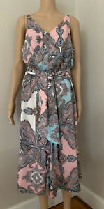 Motto Monaco Paisley Print Jumpsuit In Pink And Blue Size 14 NWT