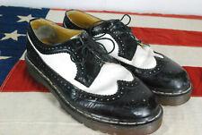 Dr Martens Black White Oxford Wingtips Shoes Doc Mens 9 Made ENGLAND