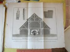 Vintage Print,GLASS MAKING,Building,Diderot,Encyc of Trades,1775-97