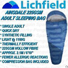 LICHFIELD SINGLE ADULT 225GSM MUMMY SLEEPING BAG BLUE + COMPRESSION BAG AINSDALE