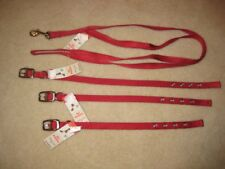 Red Valhoma Dog Collar + Leash Set  * Several Sizes