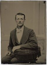 ROSY CHEEKS GILDED BUTONS 1/6 PLATE TINTYPE