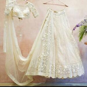 White Lengha Choli Indian Wedding Designer Lehenga Bollywood Net Bridal Ghagra