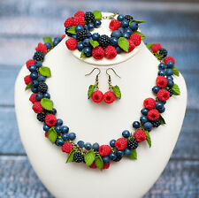 Berry raspberry Bracelet Necklace EARRINGS SET HANDCRAFTED jewerly polymer clay