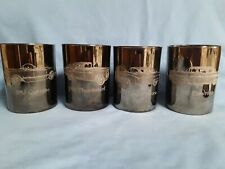 SET OF 4 CLASSIC CARS FROM THE1950'S ETCHED WHISKEY GLASSES 53' VETTE, 57 CHEVY