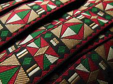 antiguo ribete tejido rojo marrón glacé verde vintage 3 mètres sobre 2,5 cm