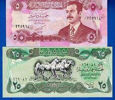 Iraq P-74 & P-80 5 & 25 Dinars Year 1990-92 Uncirculated Banknotes Set # 12