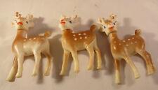 "3 Vintage Plastic Reindeer Posable Heads Christmas Hong Kong 4"""