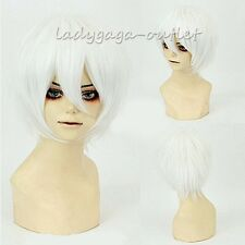 Women Mens Short Cosplay Hair Wigs Layer Shaggy Straight Anime Synthetic Wigs aa