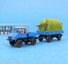 Brekina h0 39170 Unimog 421 tractor con heno-remolque azul OVP ho 1:87