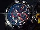 Invicta Men's 48mm Black Combat Fire Red Pro Diver Scuba Chronograph Strap Watch