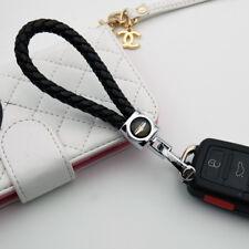 For Chrysler Emblem Key Chain Ring BV Calf Leather Style Gift Decoration - Black