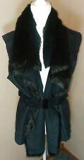 K Dash by Kardashian Womens Black Faux Fur Sleevless Vest Jacket Size M