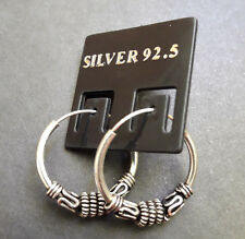 #25 925 Sterling Silver men women Bali Style Hoop Earring Jewelry 18 mm