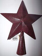 "Primitive Rustic Burgundy Metal Star Christmas Tree Topper 10-1/2"" x 8-1/4"" NWT"