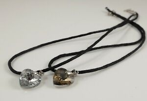 3D Heart Pendant & 16'' Waxed Rope Necklace Lobster Claw Clasp Extension Chain